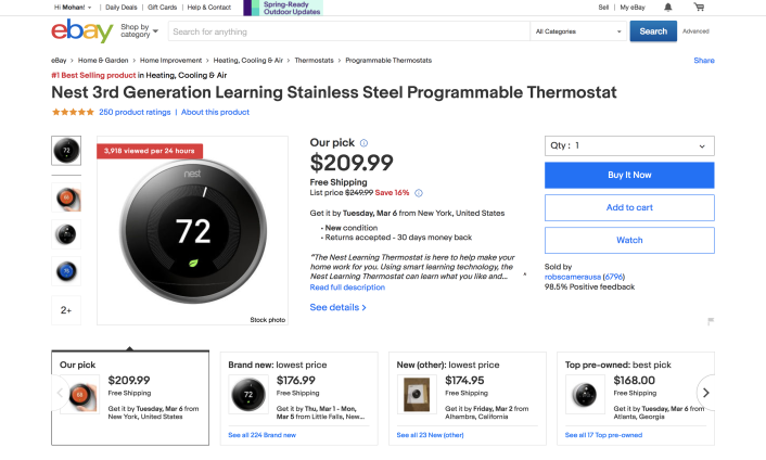 Nest Thermostat Product Page